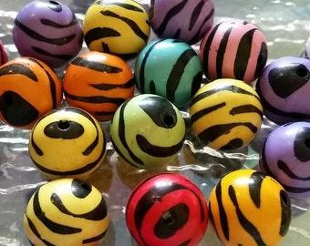 20mm Mixed Zebra Beads
