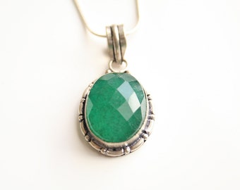 Natural Emerald Silver Necklace