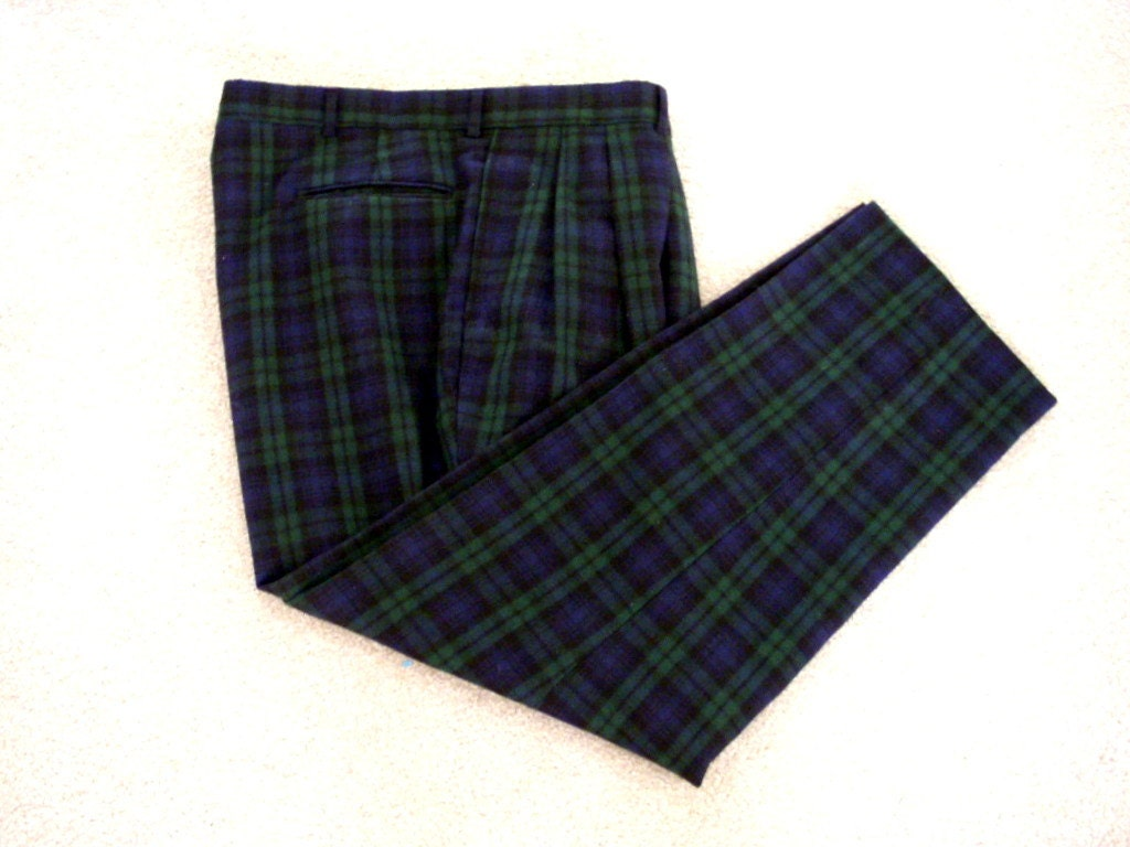 80s 90s Mens Plaid Pants Pleated Front Men's Blue and