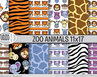 ZOO ANIMALS Digital Paper: Zoo Animal Pattern Print, Zoo Animal Download, Animals Patterns Backgrounds Zoo Animal Scrapbook