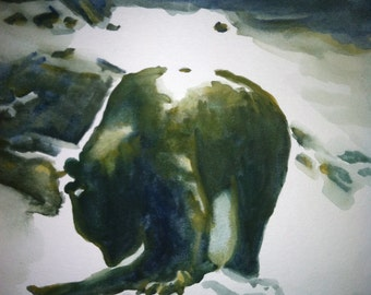 Original Bear Watercolor Painting 9x12