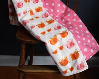 Pink and Orange Elephant and Polk a Dot Flannel Baby Blanket