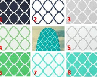 PADDED Ironing Board Cover- Quatrefoil Pattern- You Choose Size and Color