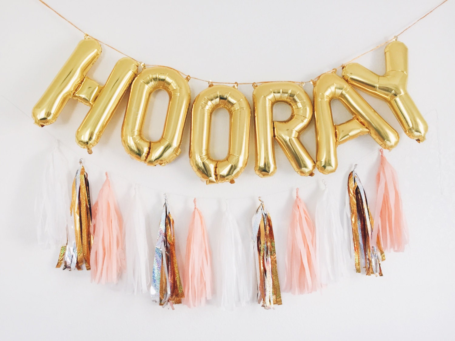 hooray balloons gold letter balloon tassel garland set With balloon letter banner