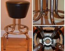 Vintage Mid Century Bar Stool, Retro Black Vinyl Stool, 1950's Diner Bar Stool, Great For A Retro Art Studio.
