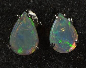 Solid Australian crystal opal earrings, crystal opal, nature opal, teardrop earring, handmade, sterling silver 925 earrings,OJDZ1001H2