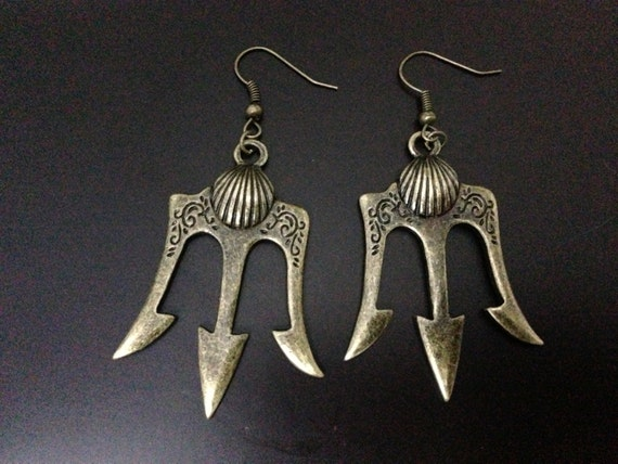 antique bronze trident earrings Poseidon Weapons inspired