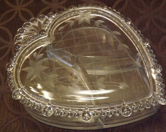 Victorian Covered Etched Glass Heart Shaped Candy Box