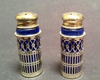 Vintage Silverplate Filigree Salt & Pepper Shakers – Cobalt Glass Inserts