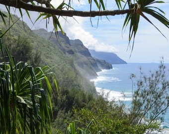"Hawaii ""Kalalau Trail Overlook"" Landscape Photo of Na Pali coast Kauai Large Print"