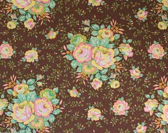SALE Pop Garden Rose Bouquet in Brown by Heather Bailey for Free Spirit Fabrics One Yard OOP HTF