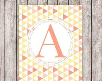 Monogram Nursery Printable Art Print, Geometric Coral, Personalized, Nursery, Baby, Gift, Wall Art, 8 x 10