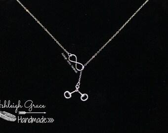 Sterling Silver Snaffle Bit Necklace, Infinity Jewelry, Equestrian Jewelry, Hunter Jumper Jewelry, Equestrian Gift, English Bit, Handmade