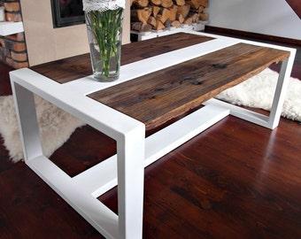 Handmade Reclaimed Wood & Steel Coffee Table - Modern Rustic Industrial Coffee Table