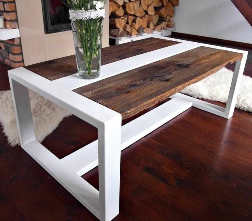 Hecho a mano madera recuperada y mesa de centro acero mesa - Mesas de madera hechas a mano ...
