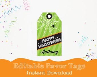 Printable Halloween Tag - Green Spider Halloween Favor Tags by Printable Studio
