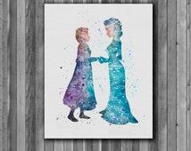 Elsa and Anna DISNEY  watercolor,  Frozen - Art Print, instant download, Watercolor Print, poster
