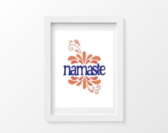 Printable Colorful Namaste Typography Art Poster, Instant Print, Printable Artwork, Yoga Yogi Art, Print Now