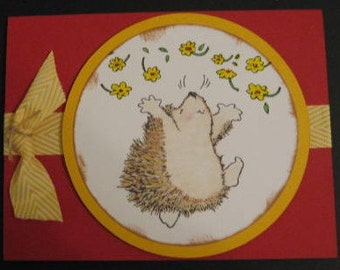 Handmade Penny Black Hedgehog Joy card