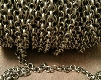 Close Out! SALE!!!  3 FEET!; 6mm antique silver matte ROLO chain