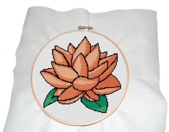 Lotus Cross Stitch Pattern Modern Cross Stitch Pattern of