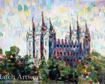 Impressionist Salt Lake LDS Temple PRINT, variety of sizes available