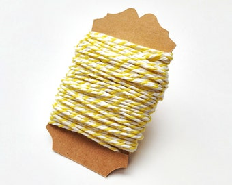 Yellow Striped Baker's Twine Wrapped 20 yards/60 feet Gift Tag Twine String 12 Ply