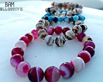 Faceted Agate Gemstone Bracelet