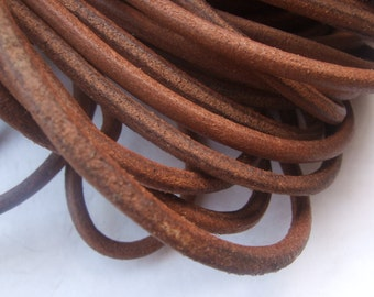 5mm Round Natural Genuine Leather Cord ,  Natural Brown Real Leather 5mm thick - 1 Meter P023