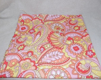 Destash- Pretty Pink and Yellow Cotton Quilting Fabric Remnant