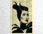 BUY 1 GET 1 FREE maleficent art print vintage dictionary art print mixed media wall art print wall decor print poster art pop art