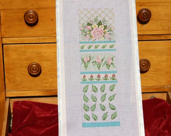 Beautiful Pink Roses, Hand Painted Stretched Needlepoint Canvas on Wooden Frame