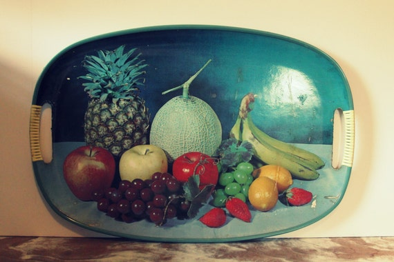Reduced 1960s Fruit Platter Serving Tray By