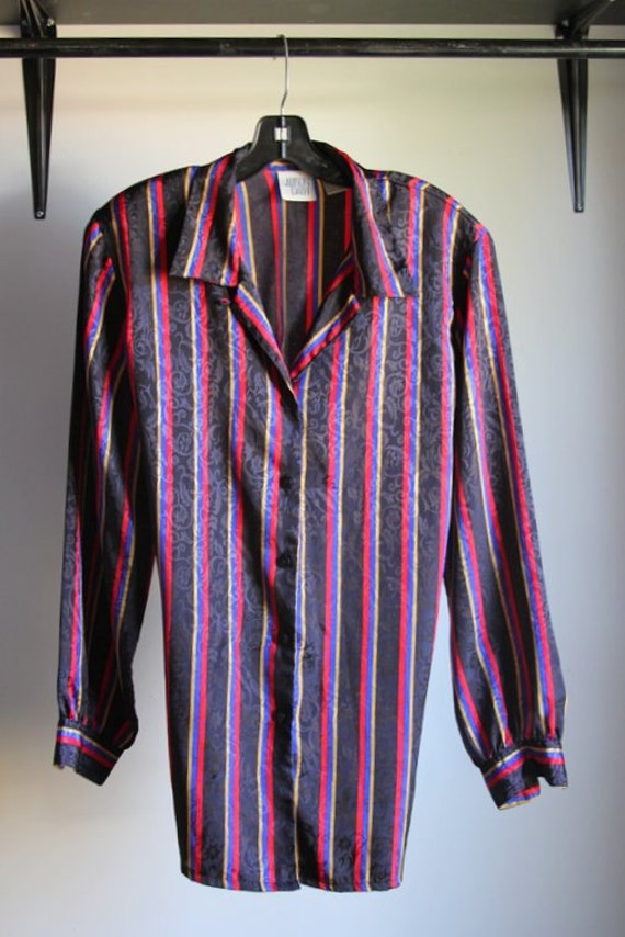 Vintage Polyester Shirt w/ Shoulder Pads by ...