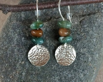Hand Hammered Sterling Silver and Natural Stone Earrings