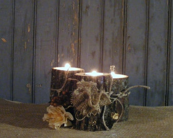 Wood Candle Holder - Rustic Log tealight holder - Rustic Centerpiece - Primitive Decor - Rustic Decor - Rustic Home Decor - Log Candle