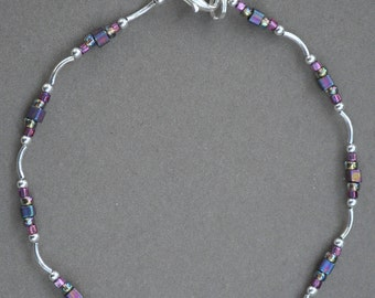 Purple and Silver Beaded Anklet