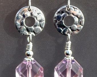 Pink Crystal Drop Silver Earrings