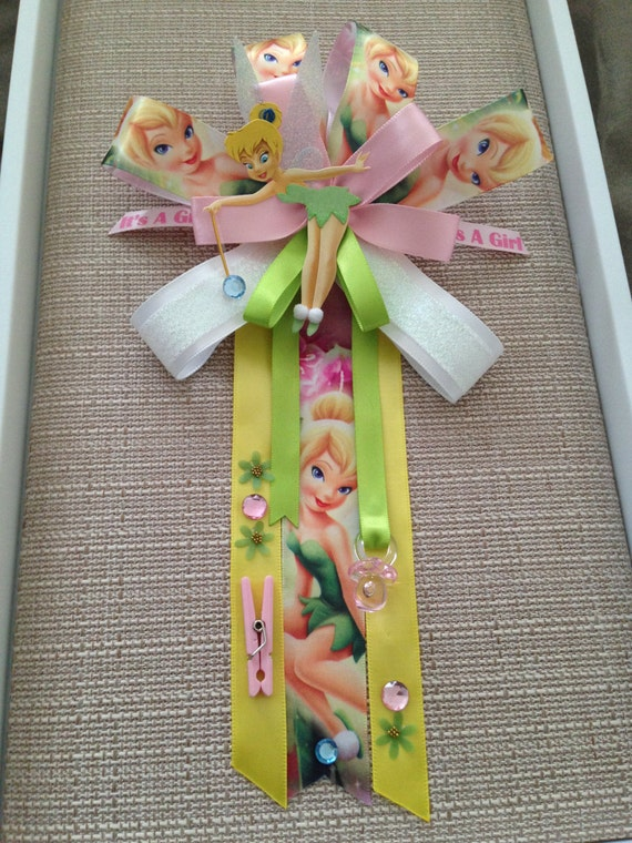 tinkerbell inspired baby shower corsage