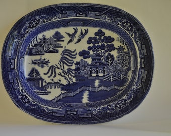 """Blue Willow Platter by O'Neill-James Co England 11""""x9"""""""