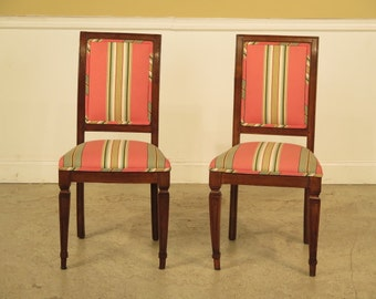 F23070E: Pair Antique Italian Distressed Regency Side Chairs