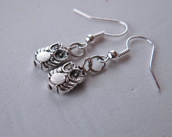 Silver Owl Charm Earrings, Owl Charm, Owl Earrings, Owl Jewelry, Bird Earrings