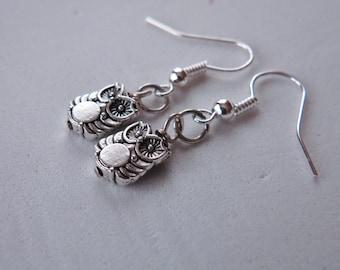 Silver Owl Charm Earrings, Owl Charm, Owl Earrings, Owl Jewelry, Bird Earrings