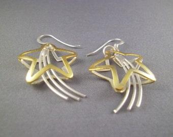 Sterling Silver Shooting Star Dangle Earrings