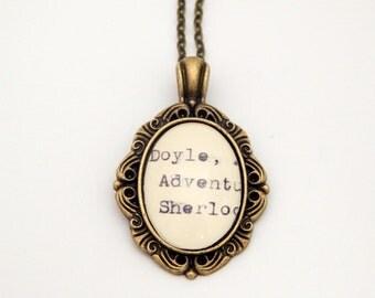 Sherlock necklace, library card catalog, Dewey Decimal, Sherlock fan gift, bookworm gift, Sherlock geekery, literature necklace