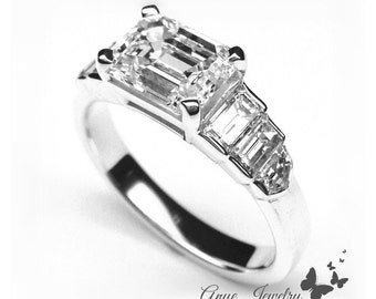 1.80 Ct. Horizontal Emerald Cut Diamond Engagement Ring on 14K White Gold