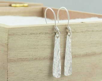 Silver Dangle Earrings - Sterling Silver Earwires - Hammered Texture Tapered Drop - Modern Eco Friendly Jewellery Made to Order in Australia