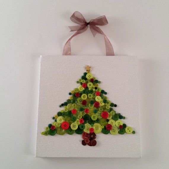 Button Christmas Trees: Canvas Button Art Christmas Tree Holiday Decoration Merry