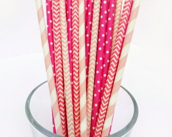 Pink Paper Straws - Bridal Shower Decor - Strawberry Shortcake Party - Striped Paper Straws - Girls Party Decor -Bachelorette Party Straws