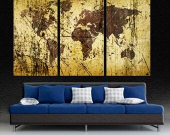 Abstract Buff Kobicha World Map Canvas Print wall art, 3 Panel Split,  Triptych. For home, office wall decor, interior design u0026 room decor.